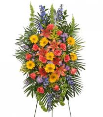 floral spray vibrant floral expression standing funeral spray flower shop