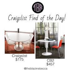 craigslist find of the day cb2 odyssey table 2 chairs u2013 the