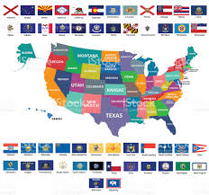 50 State Map Usa Map And 50state Flags Stock Vector Art 464939518 Istock