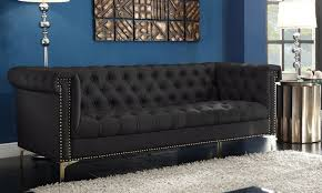 Leather Button Sofa Dwight Pu Leather Button Tufted Sofa With Gold Tone Nailhead Trim