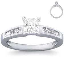 channel engagement ring engagement ring 8 princess diamonds white gold