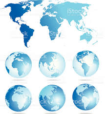 World Map Flat by Flat World Map And Six Globe Showing Different Angles Stock Vector