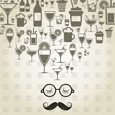 alcohol vector retro man with moustache thinks of alcohol vector clipart image