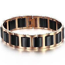 rose tone stainless steel bracelet images Boniskiss rose gold tone stainless steel combine with black ceramic br jpg
