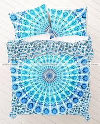 blue green hippie mandala duvet sets quilt cover