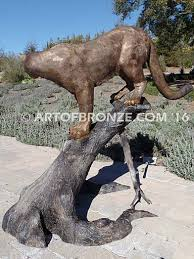 mountain lion statue outdoor sculptures wildlife nature abl193 of bronze