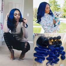 Two Tone Ombre Hair Extensions by Cheap 10a Grade Blue Ombre Brazilian Hair With Closure Two Tone