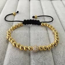 gold plated beads necklace images Triple gold plated beads diamond balls macrame bracelet men beads jpg
