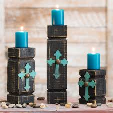 turquoise wood cross pillar candle holders