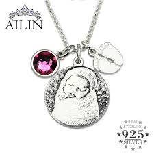 Personalized Sterling Silver Necklace Aliexpress Com Buy Personalized Sterling Silver Photo Birthstone