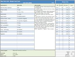 Excel Spreadsheet Development Menu U0026 Recipe Cost Spreadsheet Template