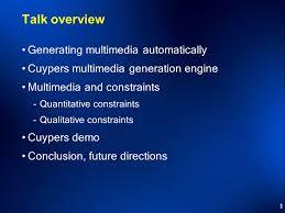 1 application specific constraints for multimedia presentation