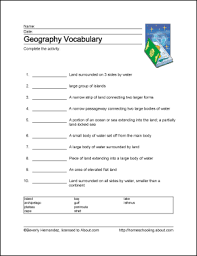 geography wordsearch vocabulary crossword and more