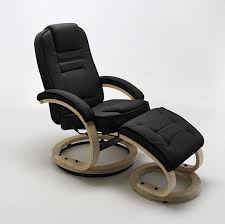 Relaxer Chair Swivel Relaxer Chair Black Leather And Footstool