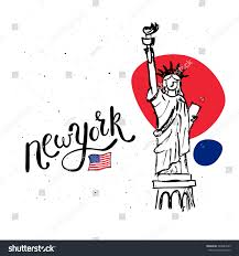 new york statue liberty vector doodle stock vector 248687929