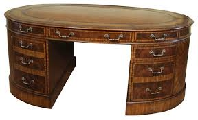 leather top oval walnut partners desk for a higher end home office