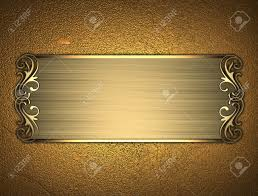 gold nameplate the template for the inscription gold background with gold nameplate