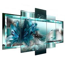 5 panel canvas print modern abstract flower picture giclee wall