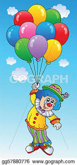 balloons clown vector stock flying clown with balloons clipart
