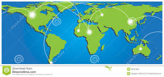 Map Of Globe Map Of World With Trading Paths And Points Stock Photos Image