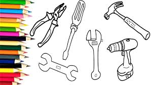 how to draw tools repair coloring pages for kids learning to