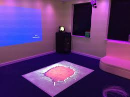 interactive projection floor in a sensory room sensory