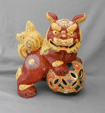 orange foo dogs 1960s japanese kutani gilt porcelain foo dog shishi guardian lion in