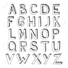 sketch 3d alphabet with hatch lozenge and