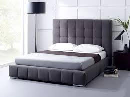 beautiful gray upholstered bed of the headboard modern interior