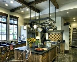 kitchen island with hanging pot rack lighted hanging pot racks granite overhang corbels kitchen rustic