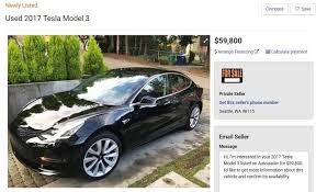 used model 3 cars are for sale and the prices range from 59 to