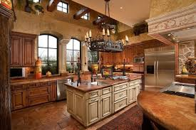 kitchen style stone tile floors and rustic iron chandelier