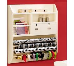 wrapping paper station wall mounted craft organizer pottery barn