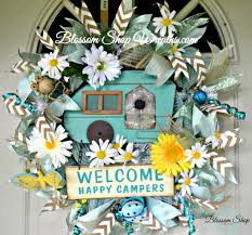 Camping Decorations Deco Mesh Wreath Camping Wreath Door Wreath Sports Wreath Door