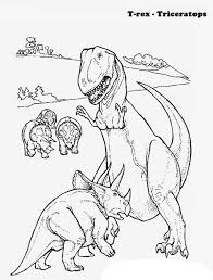 triceratops defending children rex coloring