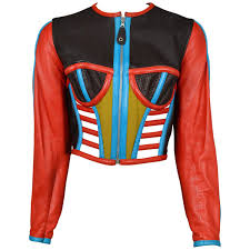 perforated leather motorcycle jacket gaultier iconic red and blue corset leather jacket 1991 for sale
