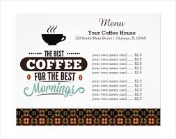 coffee shop menu template 20 coffee menu templates free sle exle format