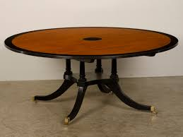 brown sheraton style round dining table top with black unusual