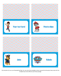 edit diy personalised paw patrol table tents designs