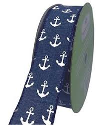 Nautical Themed Ribbon - blue and ivory stripes wired burlap ribbon spool 2 5