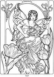 art nouveau flower fairy coloring coloring pages