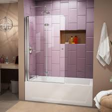 Bath Store Shower Screens Dreamline Aqua Fold 36 In X 58 In Frameless Hinged Tub Door In