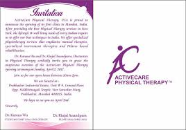 Invitation Card For Home Opening Ceremony Dr Karena Wu And Activecare Physical Therapy Opens Its First