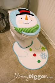 dress up your bathroom for the holidays with a snowman or santa