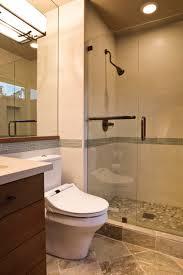 pebble tiled shower floors island stone complimented the linen