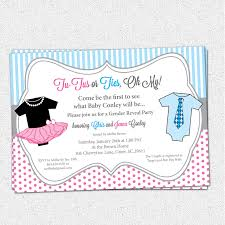 tutus or ties gender reveal baby shower party invitations pink