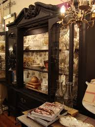 Furniture Upholstery Frederick Md by Black French Hutch Black Hutch With Toile Wallpaper Relish Decor