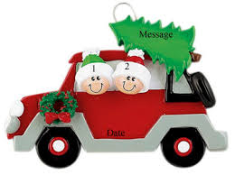 buy family ornament couple in red car with christmas tree