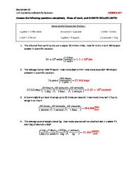 conversions dimensional analysis and scientific notation worksheet
