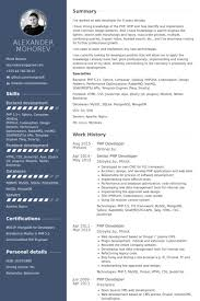 Web Design Resume Template Php Developer Resume Samples Visualcv Resume Samples Database